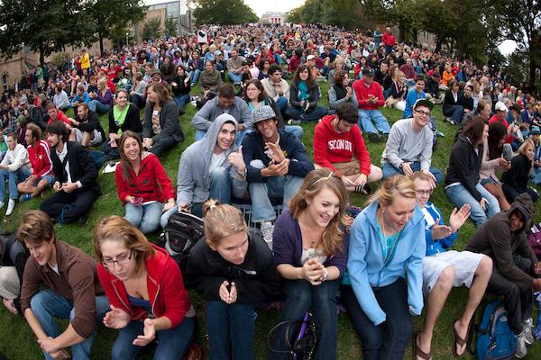 crowd on Bascom Hill