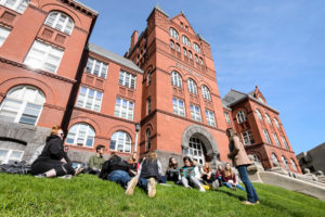 Class outside Science Hall