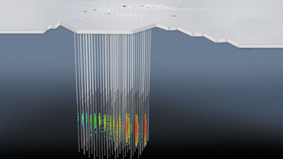 An illustration of the path of a neutrino underneath the ice at the South Pole, where the IceCube observatory is located.