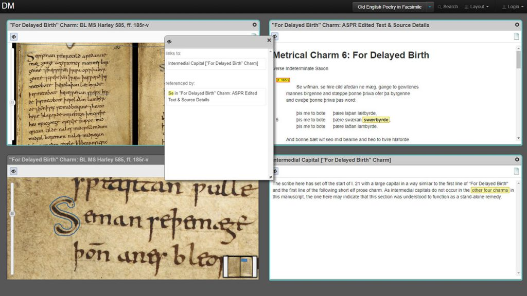 A screen split into four windows shows two views, one zoomed in, of a scanned medieval manuscript. The other two windows show a transcript and comment related to the manuscript. A fifth pop up links to another comment.