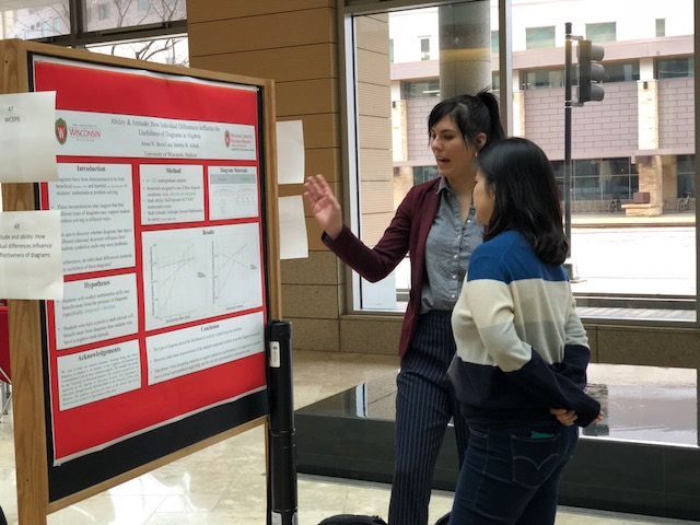 A student presenting a research poster