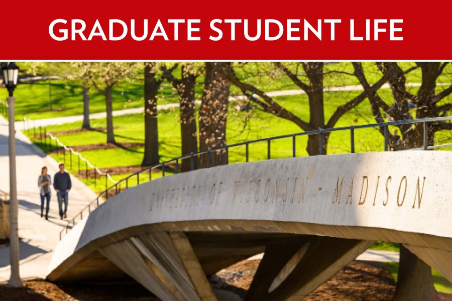 Image of two people walking on campus with text that says Graduate Student Life