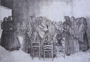 Black and white illustration of a large group of women wearing funeral shrouds gathered around a corpse